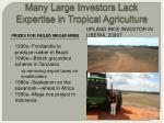 many large investors lack expertise in tropical agriculture