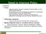need to improve policy