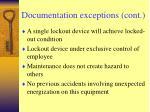 documentation exceptions cont