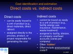 cost identification and estimation direct costs vs indirect costs