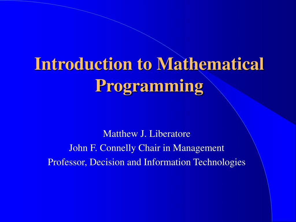 introduction to mathematical programming l.