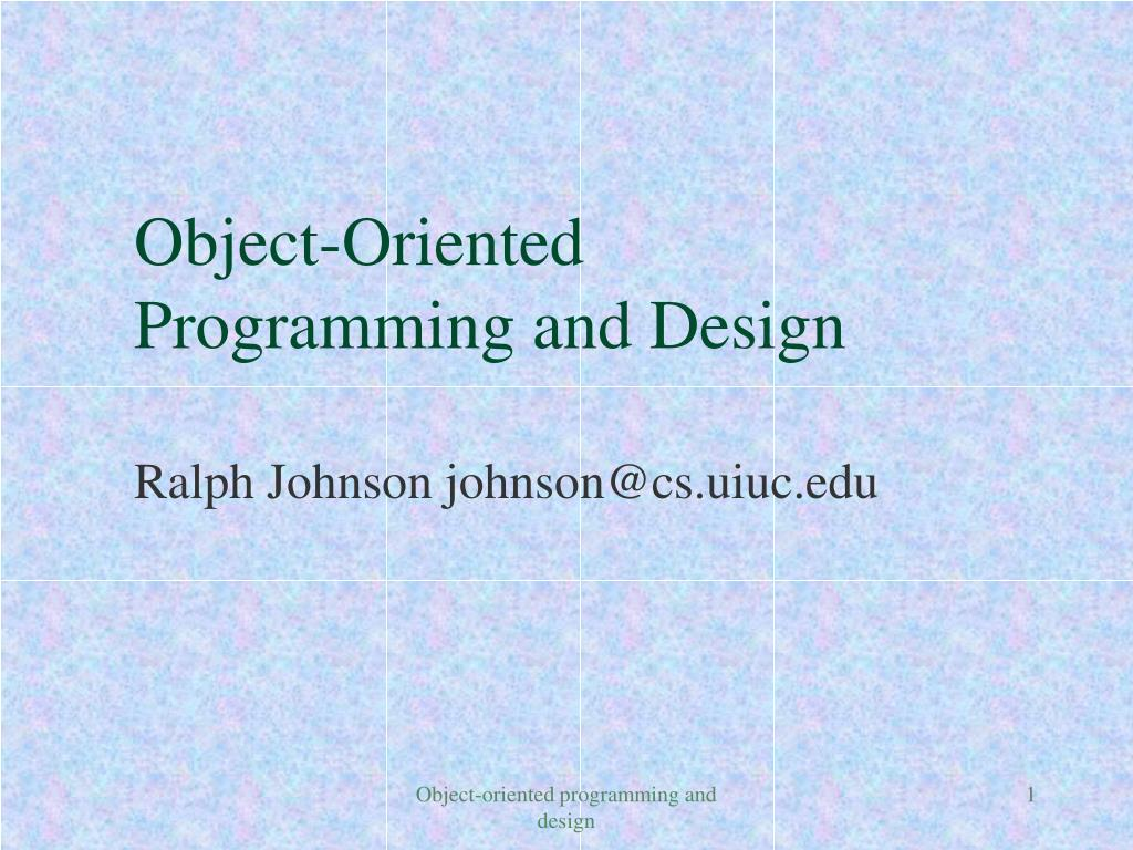 object oriented programming and design l.