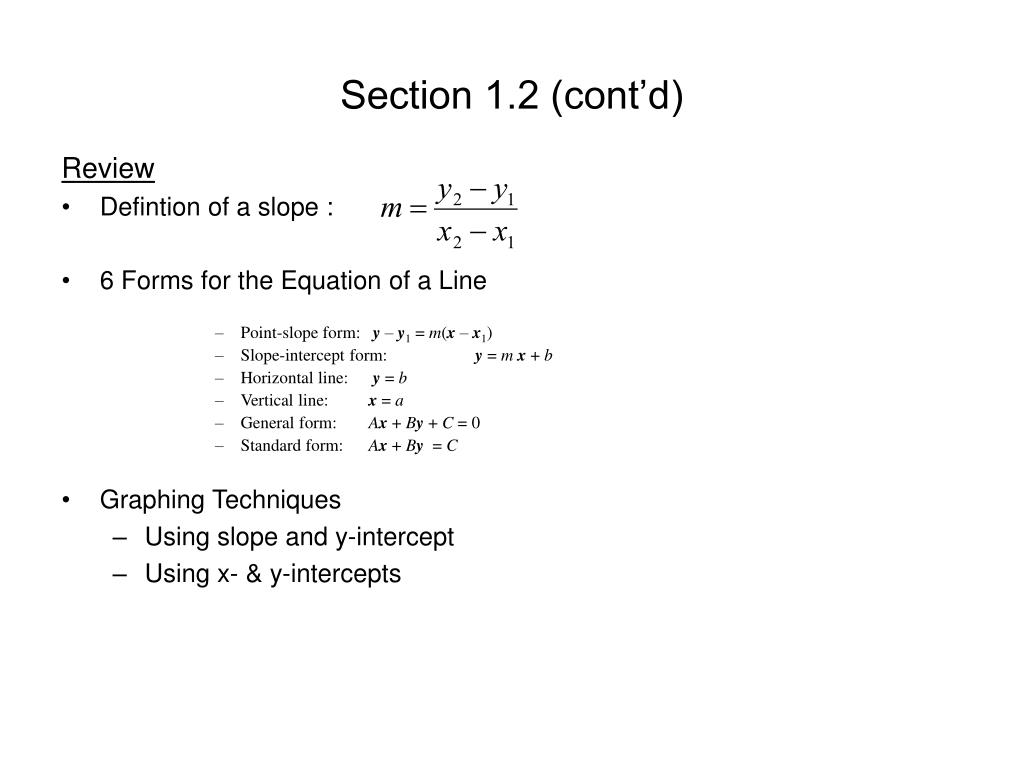 slope intercept form vs general form  PPT - The Slope of a Line PowerPoint Presentation, free ...