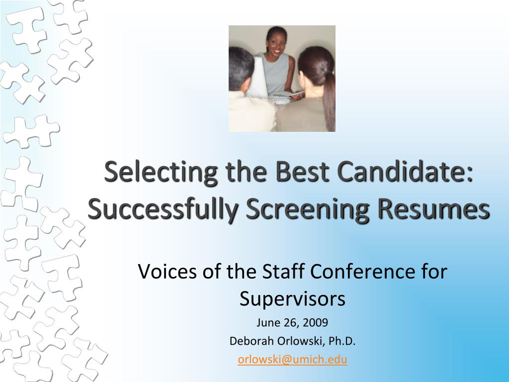 selecting the best candidate successfully screening resumes l.