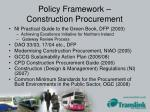 policy framework construction procurement