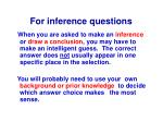 for inference questions