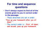 for time and sequence questions