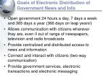 goals of electronic distribution of government news and info12