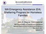 ma emergency assistance ea sheltering program for homeless families