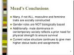 mead s conclusions