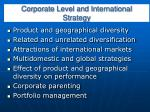 corporate level and international strategy