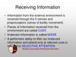 receiving information