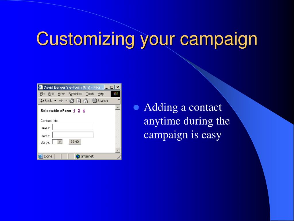 Customizing your campaign