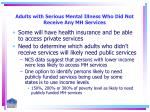adults with serious mental illness who did not receive any mh services