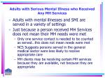 adults with serious mental illness who received any mh services21