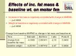 effects of inc fat mass baseline wt on motor fxn