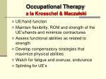 occupational therapy a la krosschel maczulski