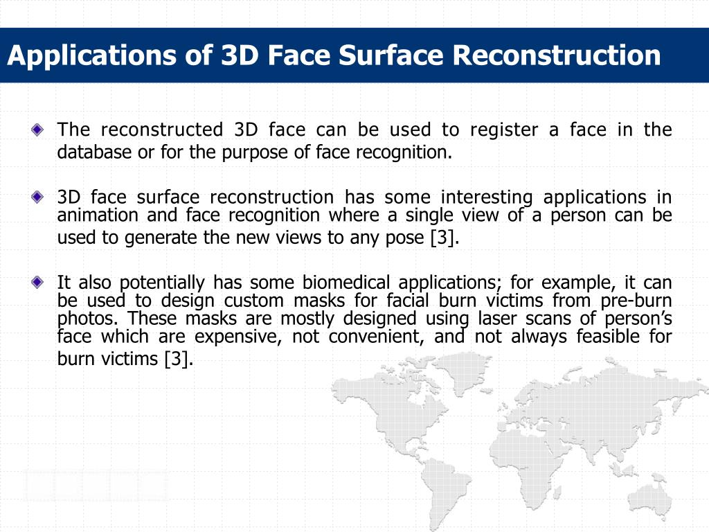 Applications of 3D Face Surface Reconstruction