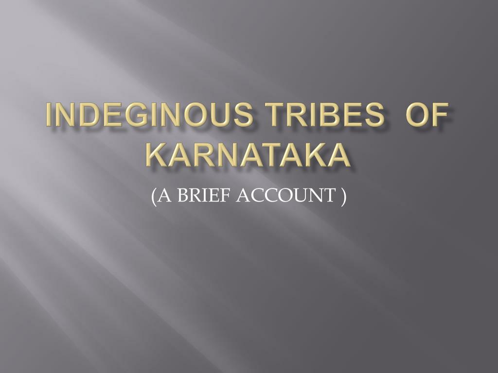 indeginous tribes of karnataka l.