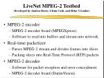 livenet mpeg 2 testbed developed by andrea basso glenn cash and reha civanlar