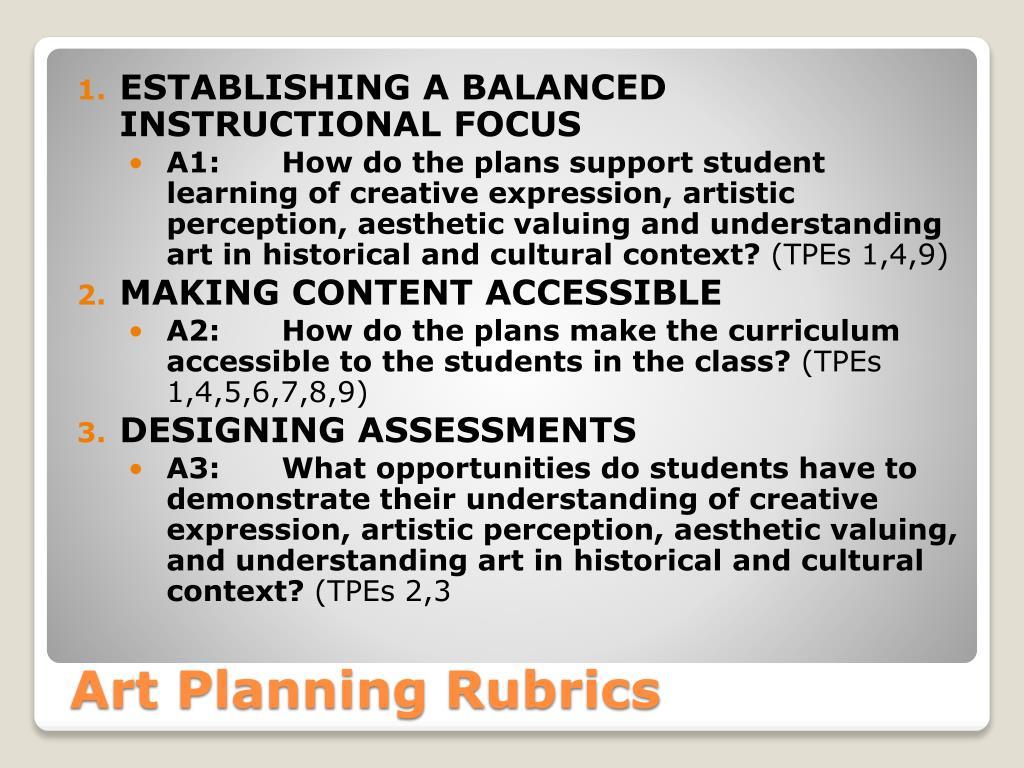art planning rubrics l.