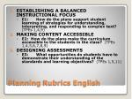 planning rubrics english
