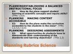 planning rubrics science