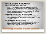 planning rubrics social science