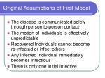 original assumptions of first model
