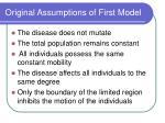 original assumptions of first model11