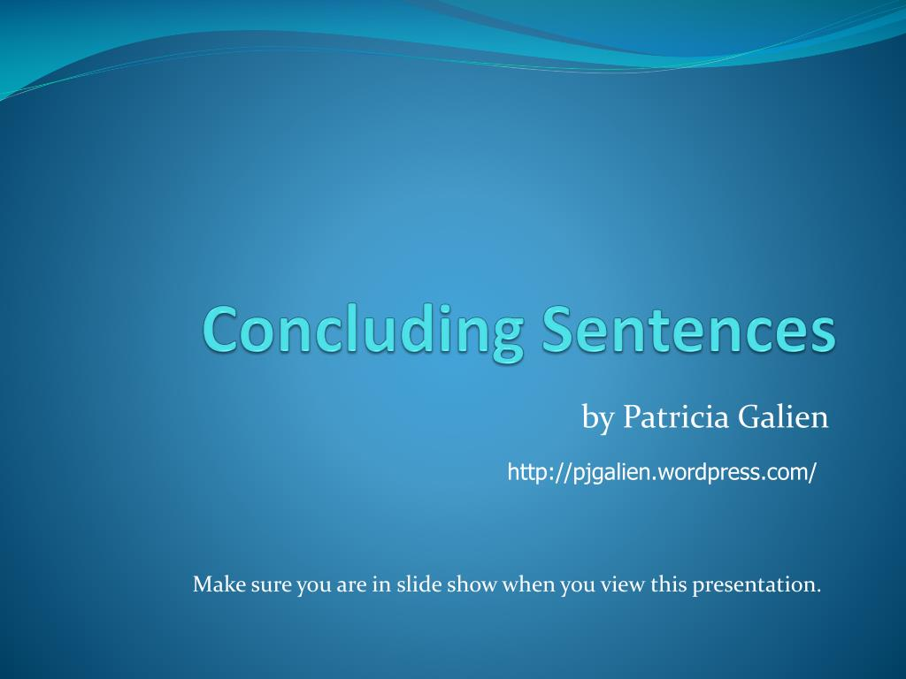 concluding sentences l.