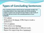 types of concluding sentences