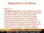 suppression list abuse