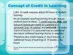 concept of credit in learning10