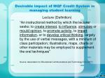 desirable impact of mqf credit system in managing student learning20