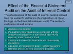 effect of the financial statement audit on the audit of internal control