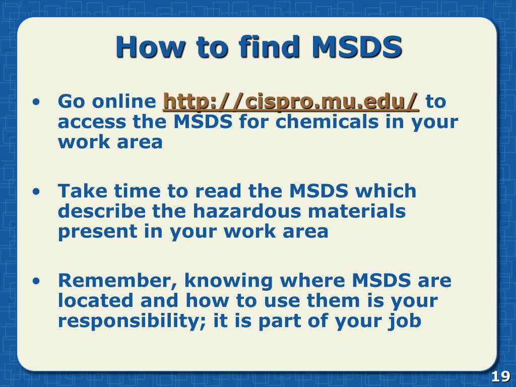 How to find MSDS