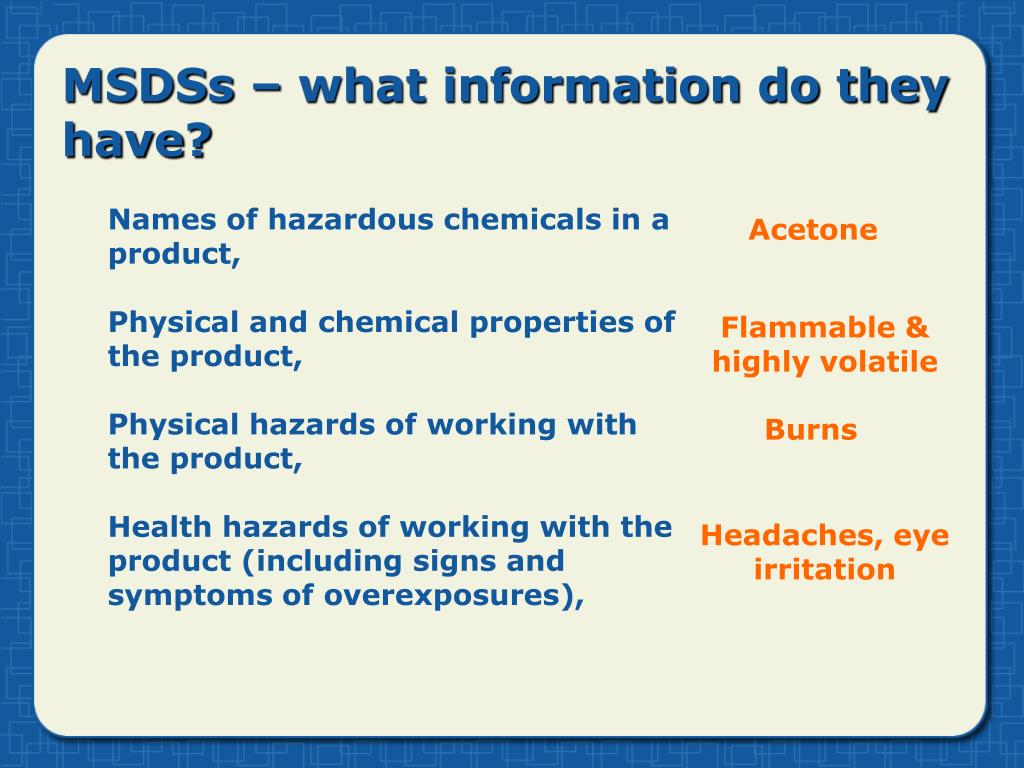 MSDSs – what information do they have?