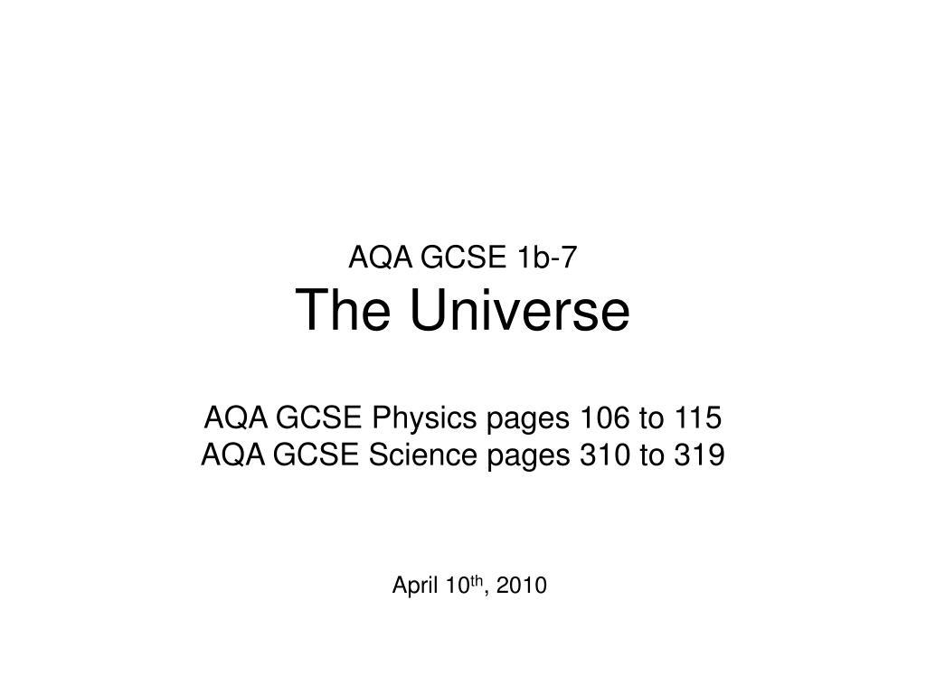 aqa gcse 1b 7 the universe l.