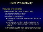 reef productivity