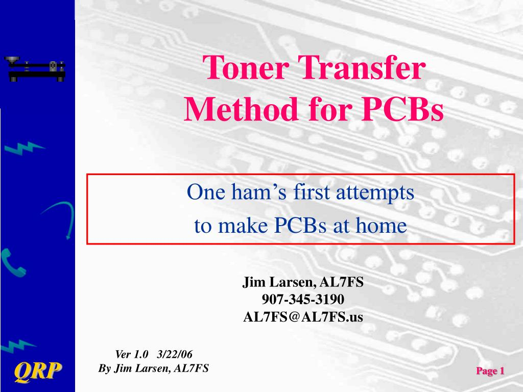 toner transfer method for pcbs l.