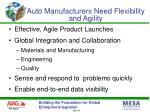 auto manufacturers need flexibility and agility