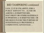 bid tampering continued