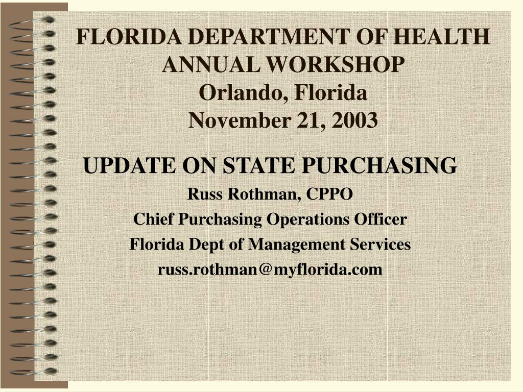 florida department of health annual workshop orlando florida november 21 2003 l.