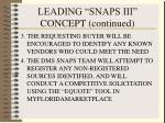 leading snaps iii concept continued