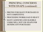 principal concerns with snaps continued