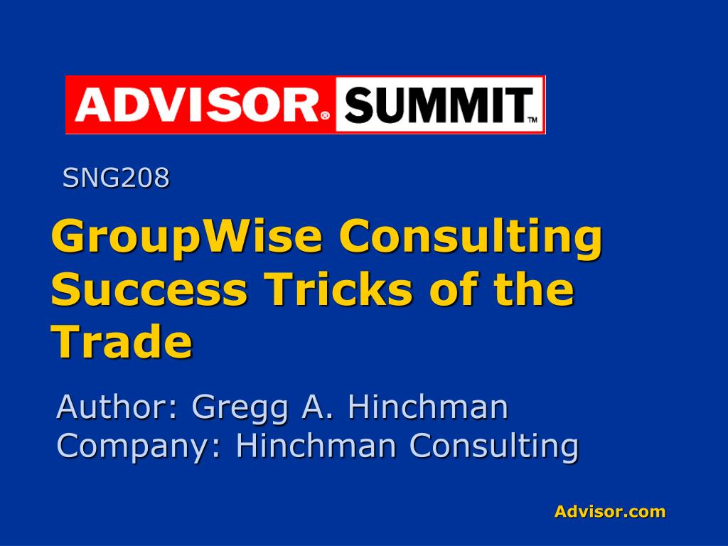 groupwise consulting success tricks of the trade l.