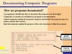 documenting computer programs
