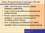 other programming languages details