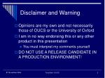 disclaimer and warning